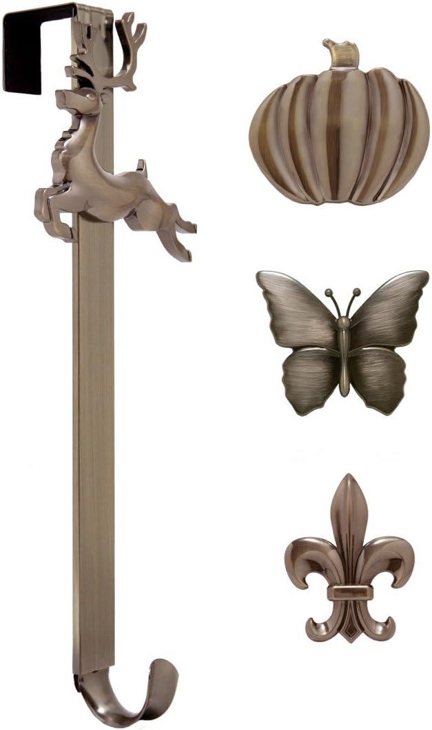 Haute Decor Adapt Adjustable Length Wreath Hanger with Interchangeable Icons (Oil-Rubbed Bronze-Reindeer/Pumpkin/Butterfly/Fleur de lis)