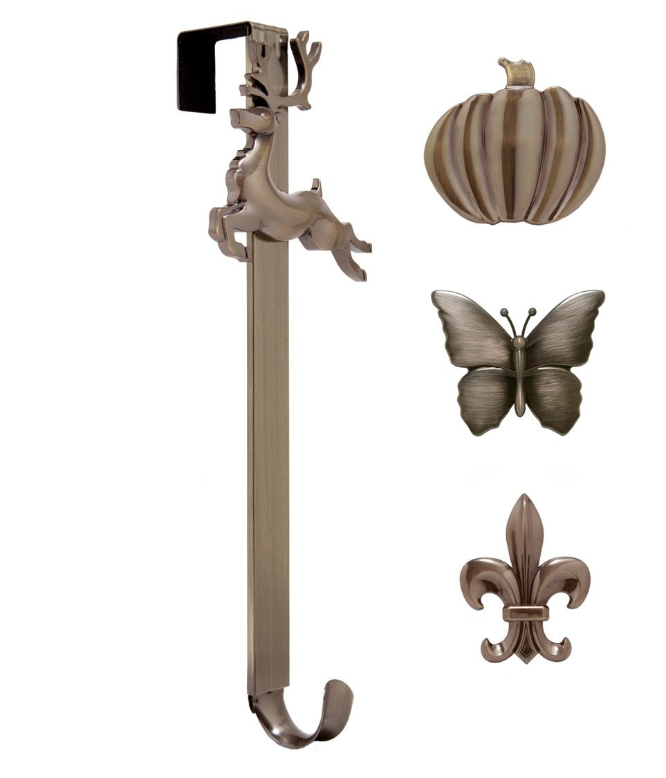 Adjustable Length Wreath Hanger with Interchangeable Icons (4 WREATH HANGERS IN 1) (Oil-Rubbed Bronze-Reindeer/Pumpkin/Butterfly/Fleur de lis)