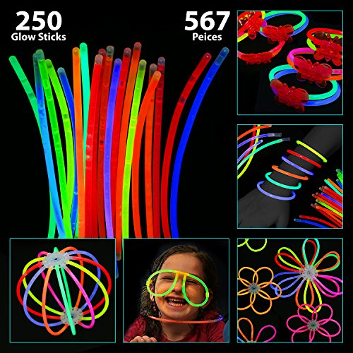 bulk Pack of 567 Glowing Sticks - 250 Glow Sticks + 250 Connectors + 67 Connectors for Glow Necklace + Flower Balls + Triple Butterfly Bracelets & Luminous Glasses - Party Favors For Kids/Adults