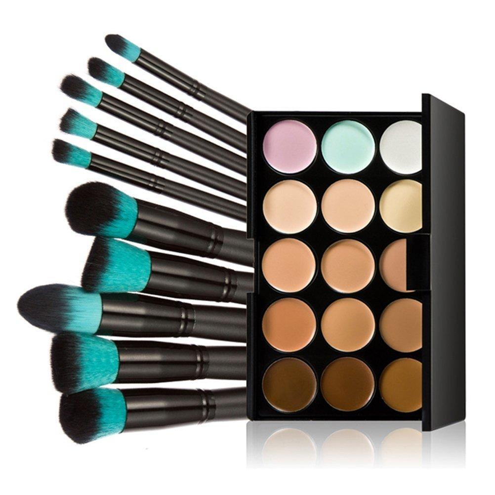 VORCOOL 15 Farben Kontur Gesicht Creme Make-up Concealer Palette mit 10ST Make-up Pinsel (schwarz + blau)