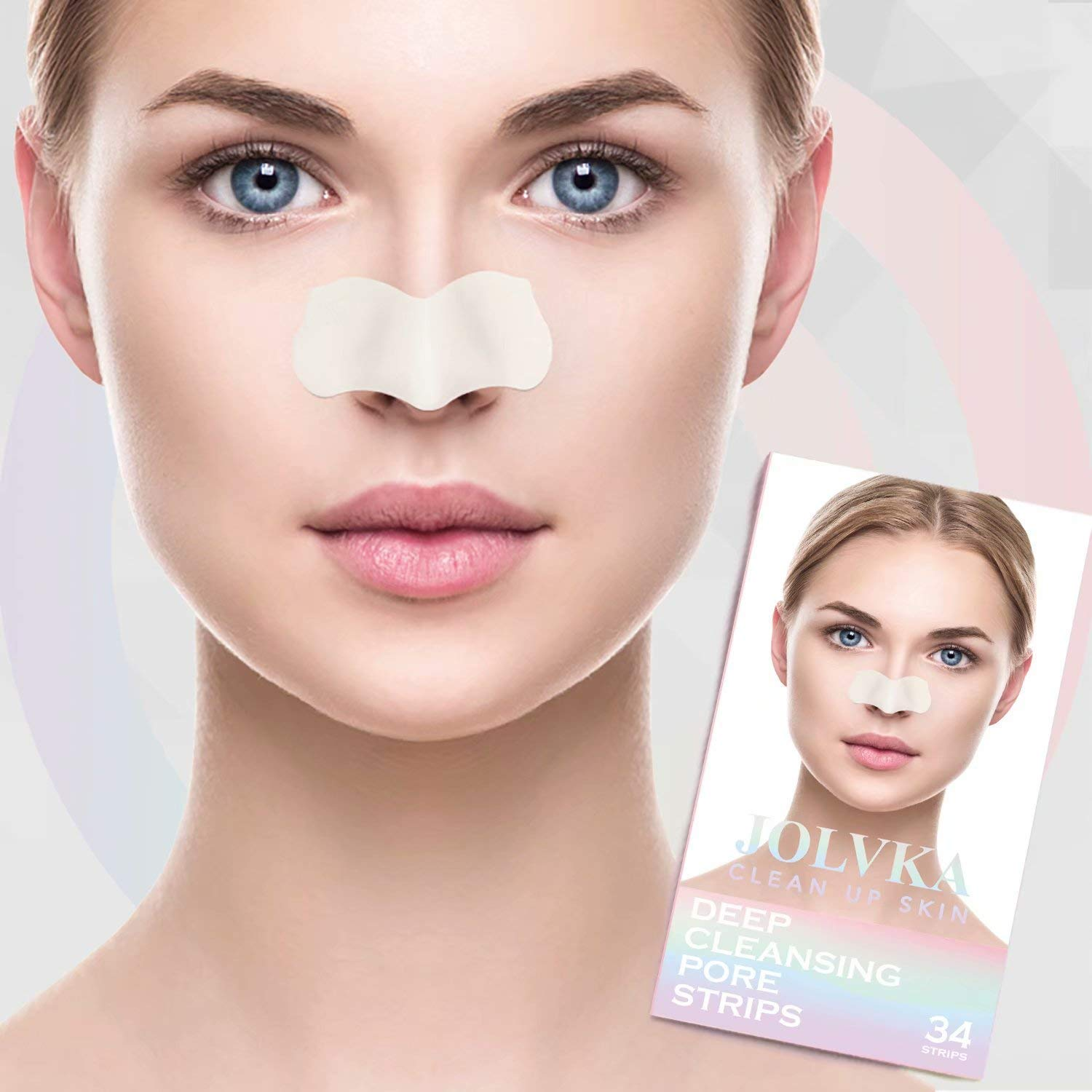 Blackhead Pore Strips, Blackhead Remover Deep Cleansing Pore Strips For Nose, 34 Strips, HypoAllergenic and Oil Free