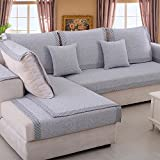Sofa furniture protector for pet or dog Sofa cover all season Sectional sofa throw cover pad Solid color Thicken cotton and linen slip cover-D 35x35inch(90x90cm)