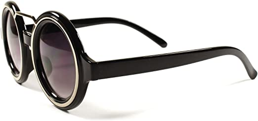Classic retro 1980/'s  Fashion vintage black gold rim square sunglasses
