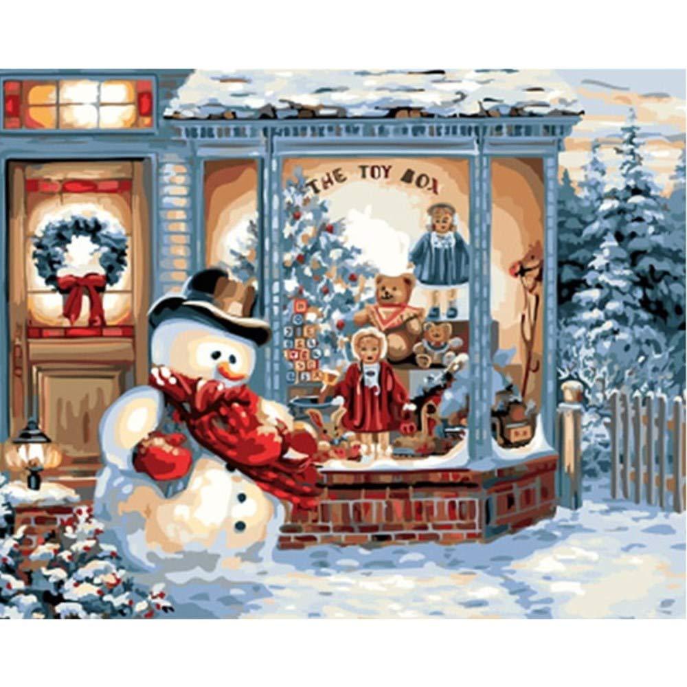 wwdfdd wwdfdd wwdfdd Sin Marco Navidad Nieve Pintura Bricolaje by números caligrafía Pintura Arte de la Pared Imagen Pintura acrílica Sobre Lienzo 40X50CM 09ef7b