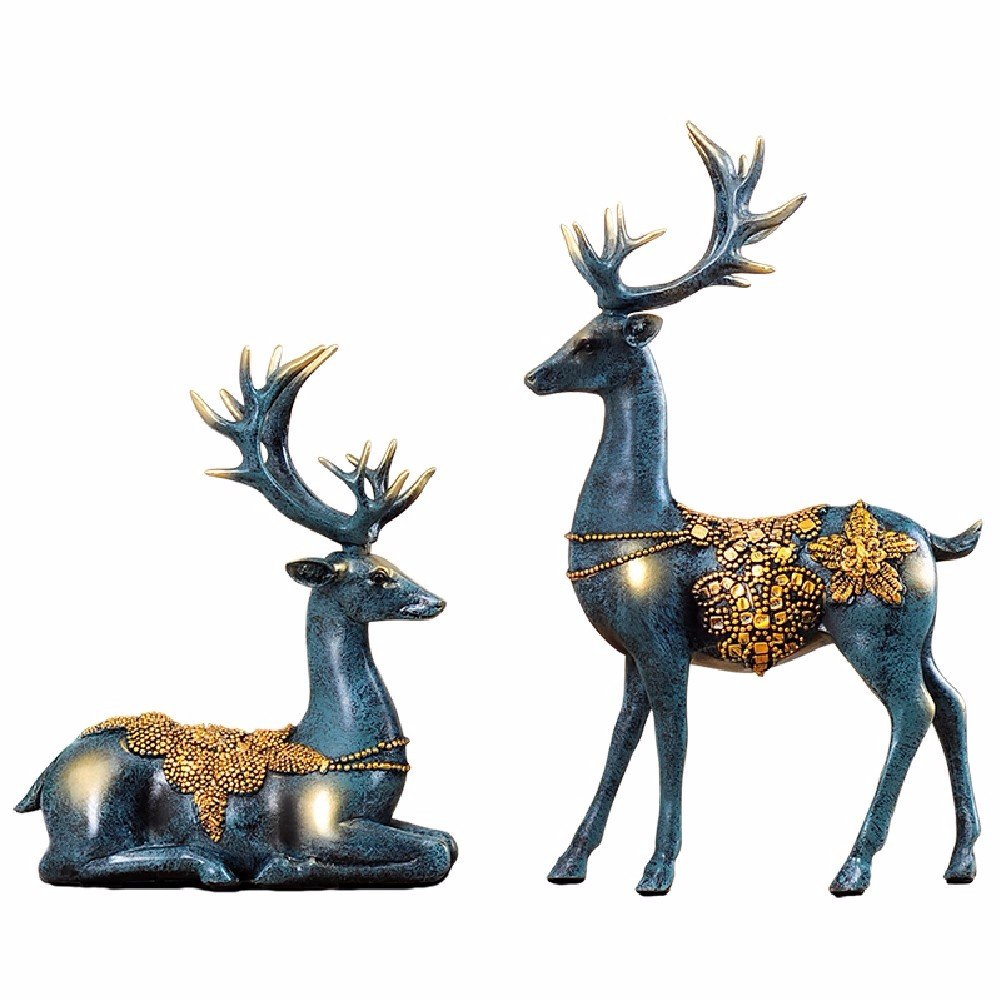 B ZPSPZ ornament European Home Furnishing Couple Deer Ornaments Resin Crafts Ornament Decoration Living Room Study,A