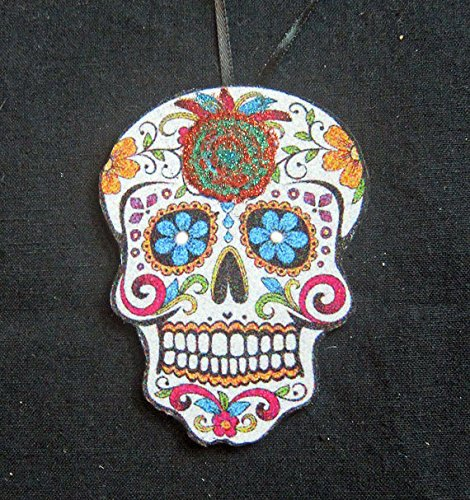 Day of the Dead Handcrafted Wooden Dia de los Muertos Ornament, Skeleton, Sugar Skull, Mexican Holiday Celebration, Halloween Candy Coloring]()