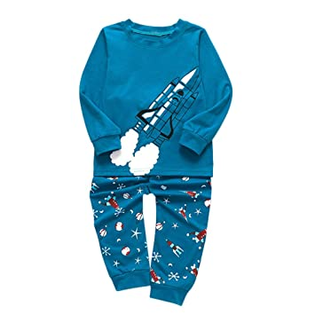 361979eaba4 Baby Boys Girls Pyjamas Set Two Pieces, Toddler Rocket Print Thick Warm  Tops Pants Set Sleepwear for 1-6 Years Old(Sky Blue,5-6 Years):  Amazon.co.uk: Baby