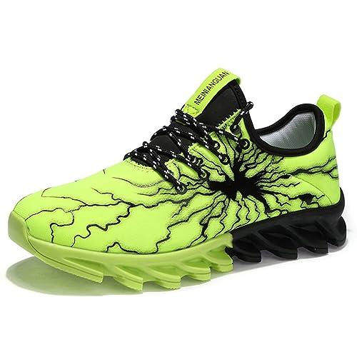 c09ca2437573 Solshine Herren Mesh Atmungsaktive Sneakers Sportschuhe Freizeit  Walkingschuhe Gym Schnürer Laufschuhe Grün 36EU