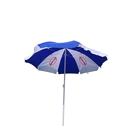 Pepper Agro Garden Umbrella Outdoor use Ideal for Beach/Lawn/Marketing/Sun Protection Blue and White 5.5 feet