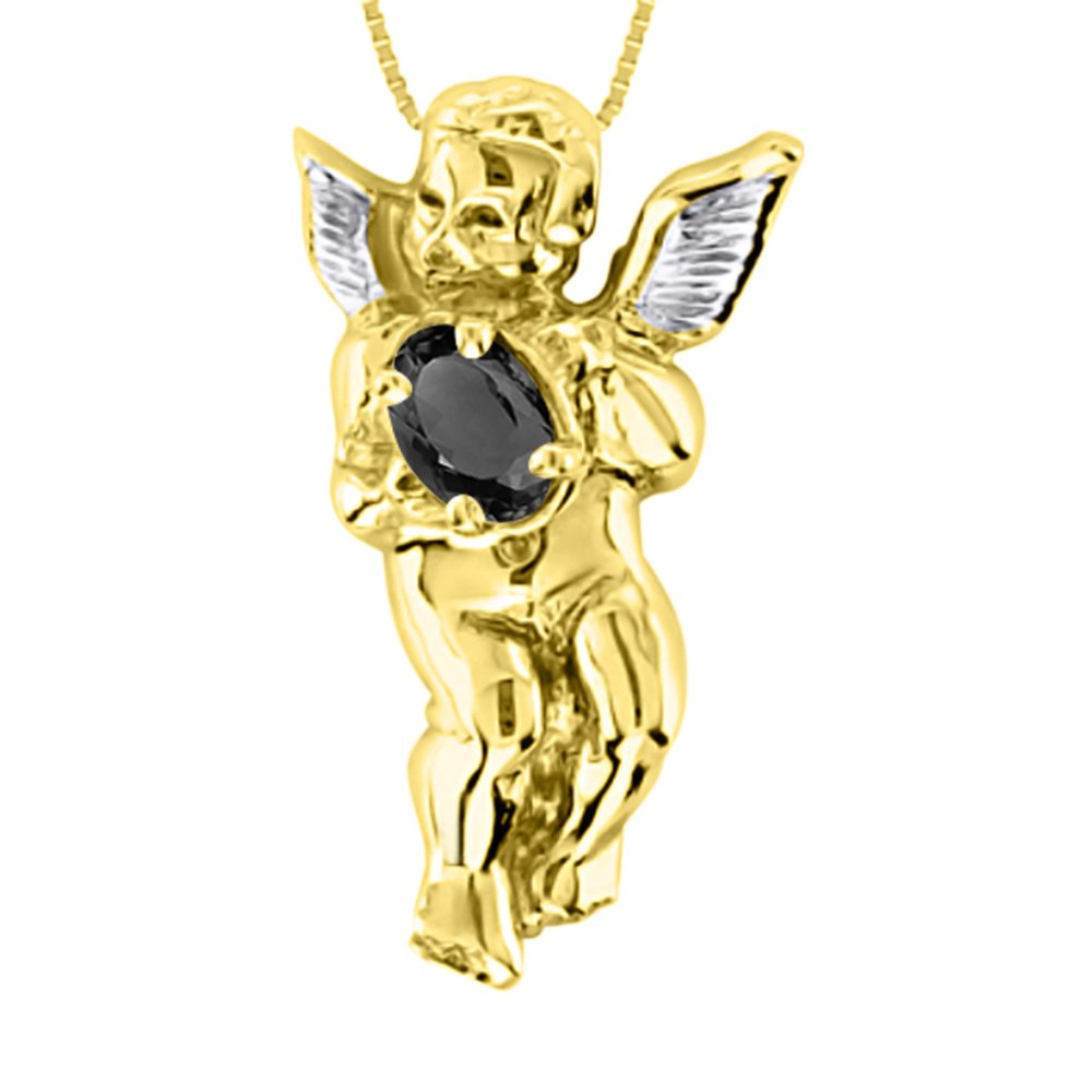 Onyx /& Diamond Pendant Necklace Yellow Gold Plated Silver Angel