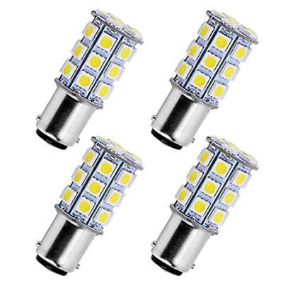 YINTATECH 4X Super White 6000K LED Car Lights Bulb 1157 BAY15D 27SMD 5050 Car RV Turn Signal Parking Lights 7528 2057 2357 DC 12V: Automotive