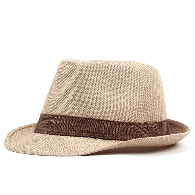 d993e386c1db1 Image Unavailable. Image not available for. Color  August Jim Mens Summer  Straw Hats Jazz Cap Classic Panama ...