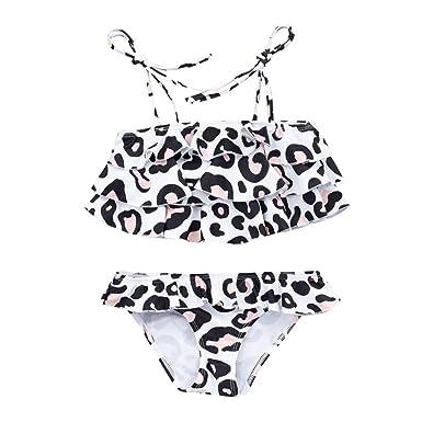 dc5abbd55d1ad Amazon.com: SSZZoo Toddler Baby Kids Girls Bathing Bikini Strap Leopard Print  Ruffle Swimwear Swimsuit Set: Clothing