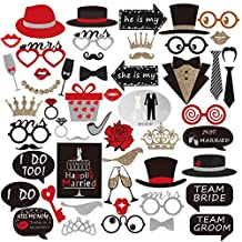 PBPBOX Wedding Photo Booth Props for Wedding Party Decoration - 54 pcs