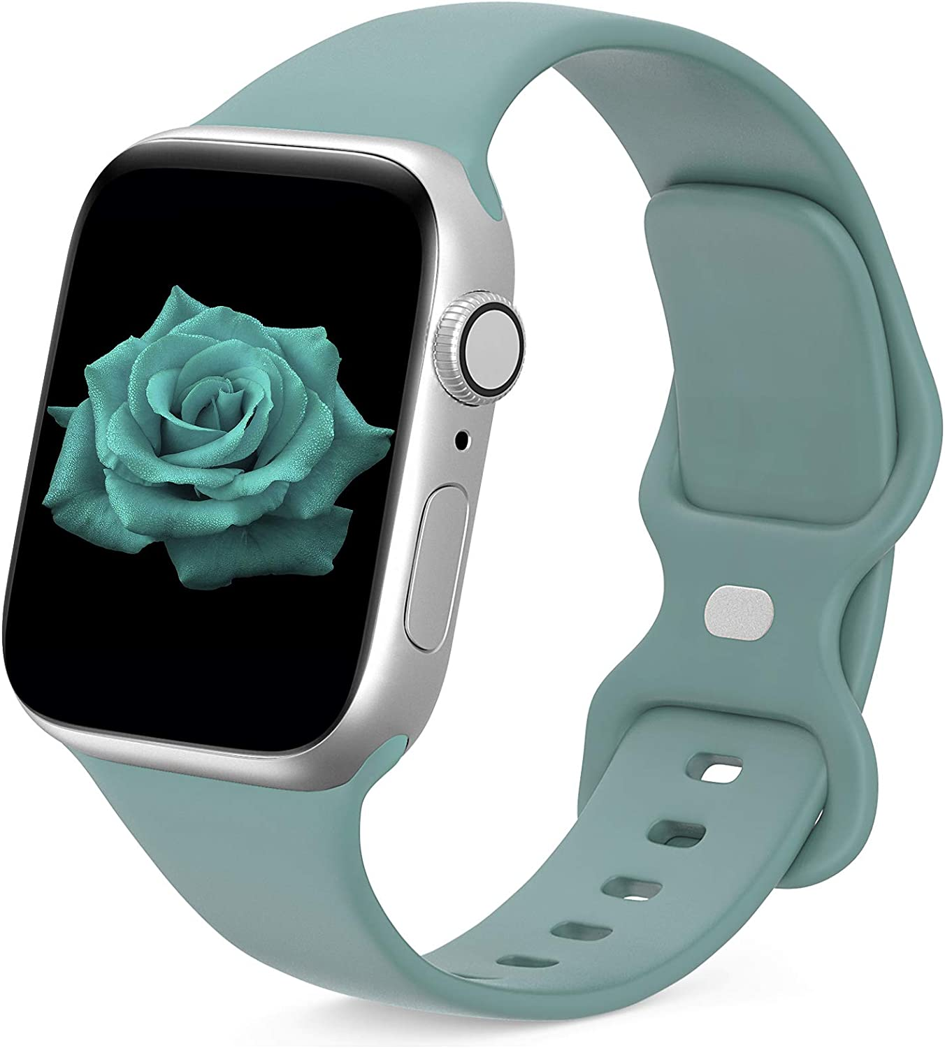 JINGMAX Sport Band Compatible with Apple Watch Band 38mm 40mm for Women Men, Soft Silicone Strap Replacement Wristband for iwatch Series SE/6/5/4/3/2/1 (for 38mm/40mm Cactus)
