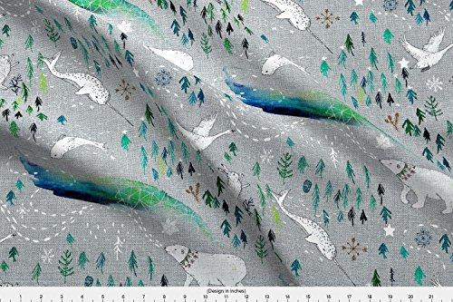 Spoonflower Polar Bear Fabric - Polar Bear Narwhal Rabbit Pine Tree Snow Adventure Baby Boy - by Nouveau Bohemian Printed on Basic Cotton Ultra Fabric by The Yard