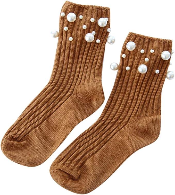 DressLksnf Calcetines Largas para Mujer Color Sólido Algodón Calcetines Mid Tube con Perla Lindos Transpirable Tejido de Punto Calcetines Invisibles: Amazon.es: Ropa y accesorios