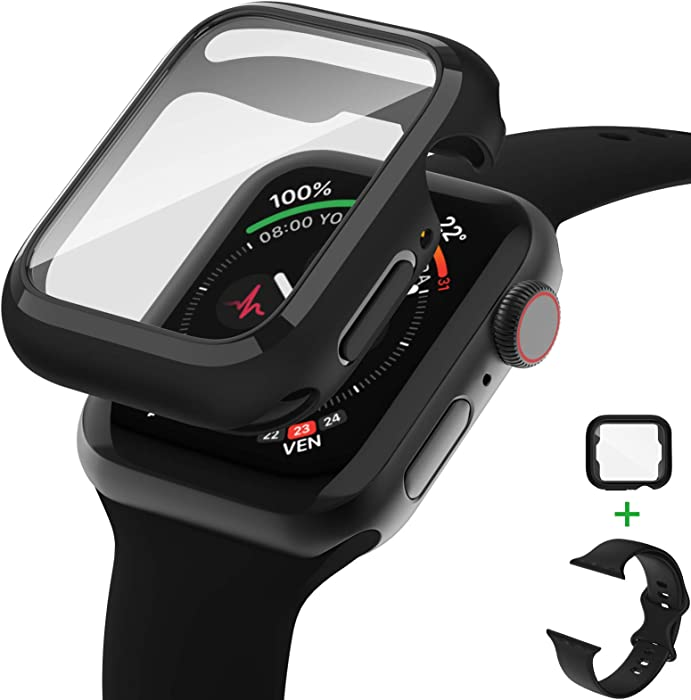 AVIDDA Tempered Glass Screen Protector Compatible for Apple Watch 38mm Series 3/2/1, Soft TPU Ultra-Thin Bumper Full Cover Protective Case for iWatch 38mm Black (Apple Watch Band Include)