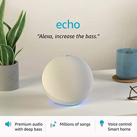 All-new Echo (4th Gen)   Premium sound powered by Dolby and Alexa (White)