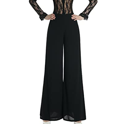 AIVTALK Femmes Casual Pantalons Fluides Palazzo Jambe Pantalons Large Longues Palazzo Pantalons - 63cm - Noir