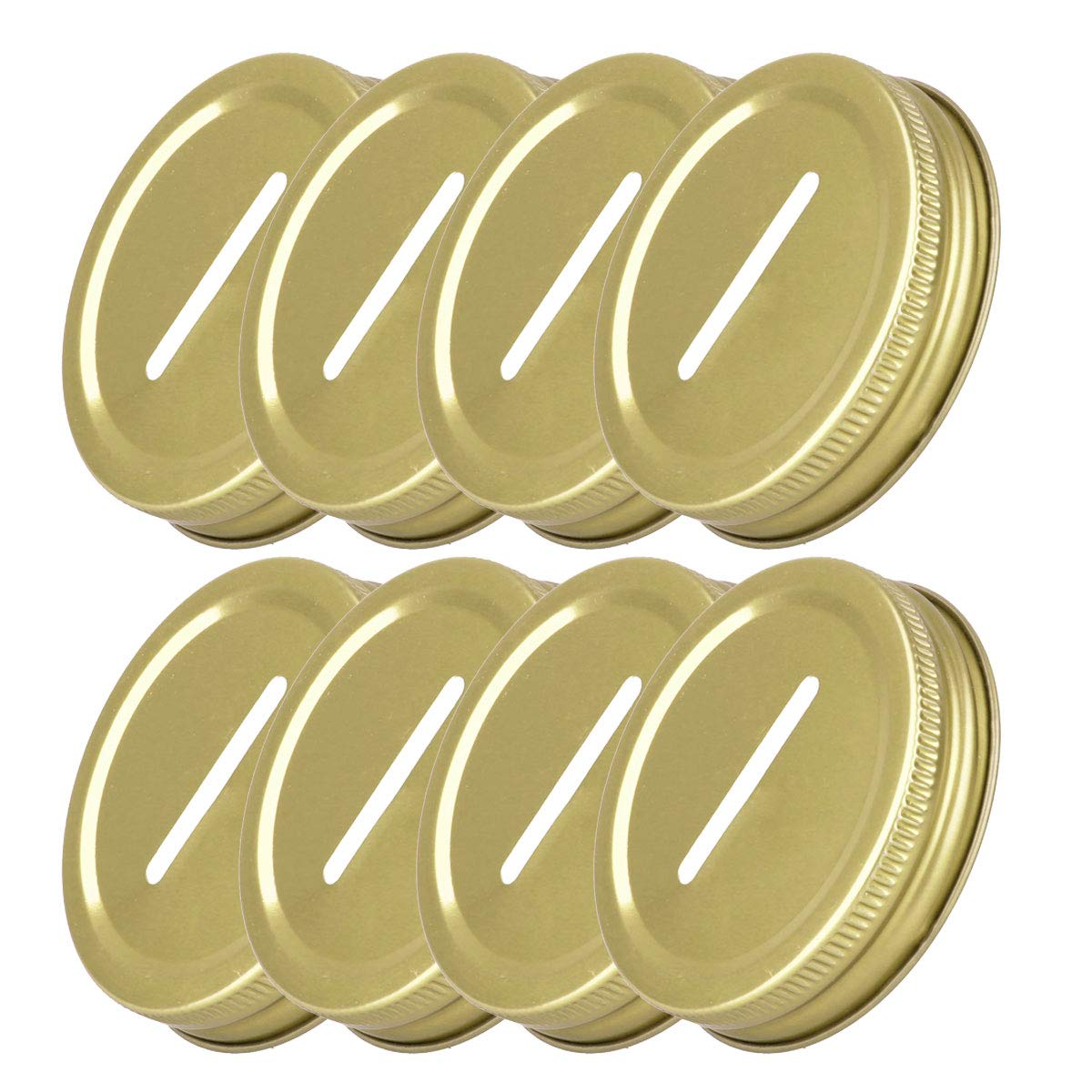 FEESHOW 8pcs Stainless Steel Coin Slot Bank Lid Inserts for Mason, Ball, Canning Jars Gold One Size