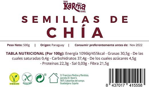 Semillas de Chía Negra | Vegana & Sin Gluten | Naturalmente alta en omegas y minerales | 500g: Amazon.es: Salud y cuidado personal
