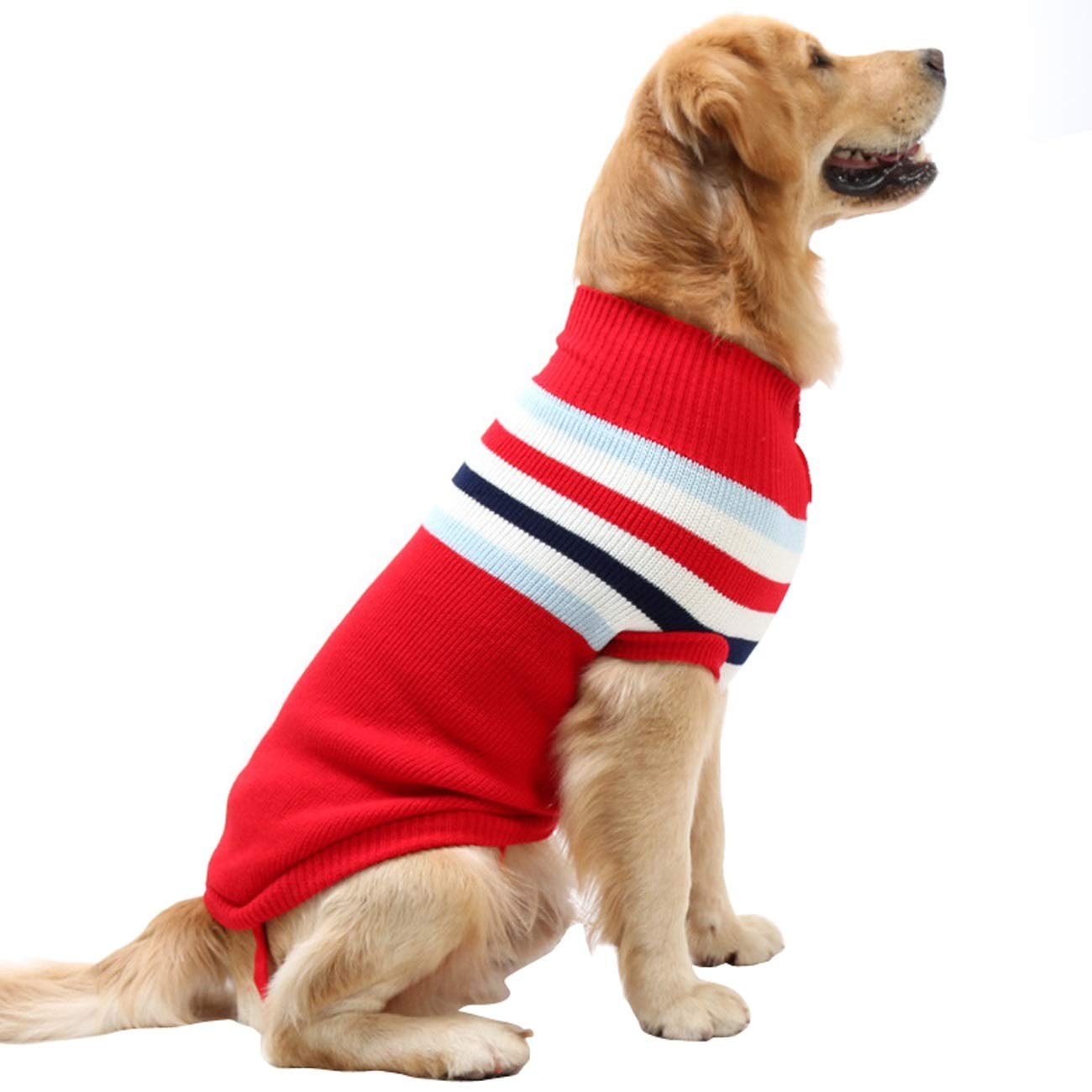 Red XL fit dogs 19.8-33lb Red XL fit dogs 19.8-33lb Dora Bridal Dog Sweater,Stripes Knitwear Tutleneck Dog Apparel,Pet Sweatshirt Clothes Dog Wool Classic Warm Soft Sweaters for Cold Weather, Puppy Warm Winter Coat for Small Medium Large Dogs Red