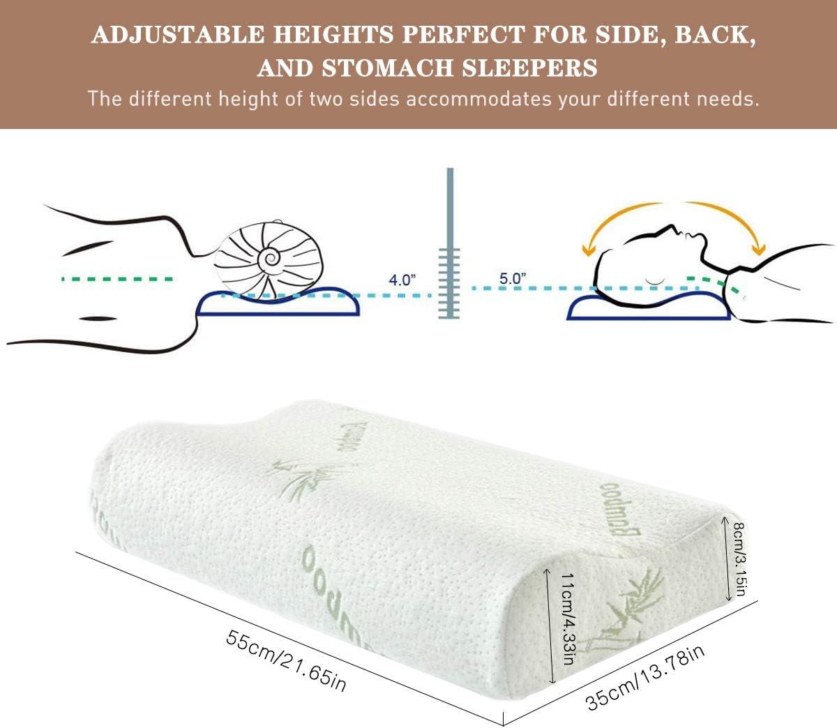 Almohada Cervical Para Dolor de Cuello Almohada de Ergon/ómica Est/ándar Para Dormir Bien Confort Almohada de Contorno de Espuma de Memoria Almohada de Cuello de Rebote Lento de Fibra de Bamb/ú