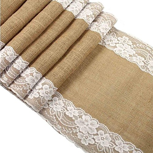 OZXCHIXU(TM Burlap Lace Hessian Table Runner Jute Outdoor Wedding Party Décor(12' x 108')]()