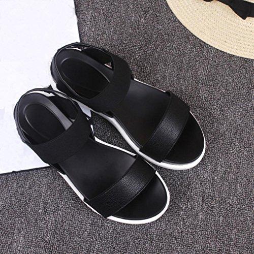 de Plat Rome en Été Sandales Simple Sandales Mode Noir Cuir Chaussures Bovake Femme ASgwIfxqW8