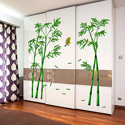 EORTA Wall Decal Stickers Green Bamboo Forest Removable Beautiful Wall Stickers Murals Chinese Style DIY Tree Home Decor Decals for Living Room Bedroom Office