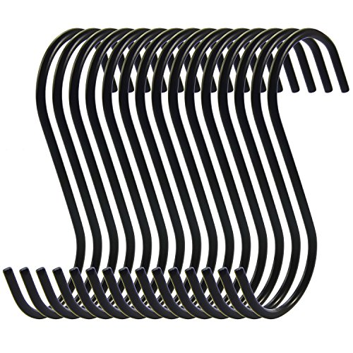 RuiLing Antistatic Coating Steel Hanging Hooks, Black, S-Shape, Pack of (Black Large Outdoor Hanging)
