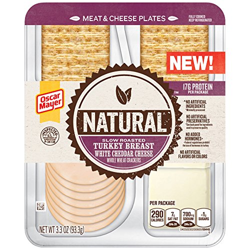 Lunch Natural - Oscar Mayer Natural Slow Roasted Turkey Breast, White Cheddar and Whole Wheat Crackers Meat & Cheese Plates, 3.3 oz Package