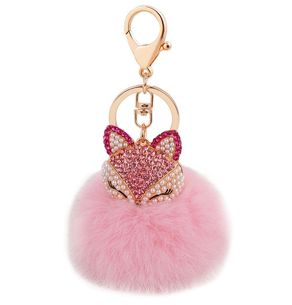 Cute Fox Diamond Keychain Soft Big Fluffy Ball Keyring Bag Decoration Creative Gift for Girls and Women(pink)