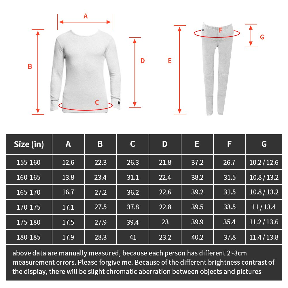 J-Jinpei Heated Underwear Thermal Base Layer Set for Mens and Womens with Rechargeable lithium-ion Battery Top + Pants Heated Thermal Underwear Set Black with 3 Heating Levels Size S-3XL