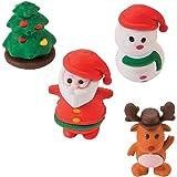 4 x Radierer Radiergummi Weihnachten Schneemann Weihnachtsmann Adventskalender Adventskalenderfüllung Nikolaus