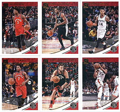 2018-19 Donruss Basketball Toronto Raptors Team Set of 6 Cards: (Rookies included) Kyle Lowry(#3), OG Anunoby(#23), Serge Ibaka(#33), Jonas Valanciunas(#43), Danny Green(#111), Kawhi Leonard(#121)