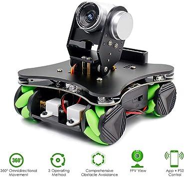 Baugger - Robot Coche Codificación Mecanum Wheel Smart Robot Kit Whit Cámara FPV DIY 4WD Omni Mecanum Wheel Robot motorizado educativo para estudiantes de programación: Amazon.es: Bricolaje y herramientas