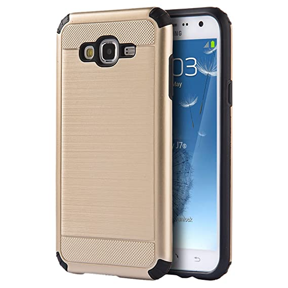 best service 845b2 d9578 Samsung Galaxy J5 J500 2015 Case - Hybrid Hard Shockproof Case Heavy Duty  Protective Brushed Phone Armor Protector Cover - Gold