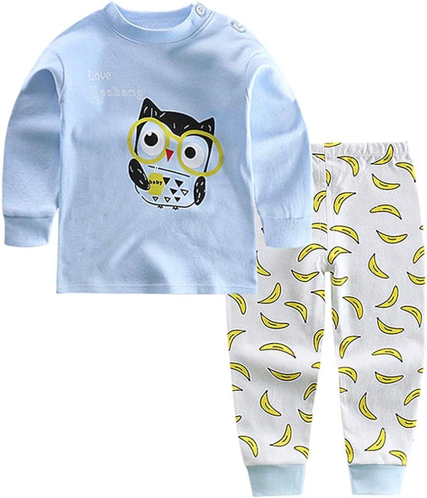 Cartone Animato Autunno Invernali Pigiama Set Pantaloni Manica Lunga Magliette per Bambino Ragazzi e Ragazze del Neonato 0-3 Anni Meiju Pigiami Due Pezzi Bambini Cotone