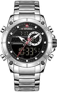 NAVIFORCE Luxury Stainless Steel Analog Digital Watch Waterproof Sports Quartz Multifunctional Wristwatch with Stopwatch Alarm LED Backlight