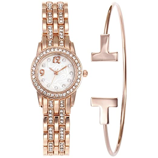 Reloj de cuarzo redondo con diamantes de imitación de Wollways - reloj de lujo con purpurina para mujer con pulseras Set reloj de pulsera regalo perfecto ...