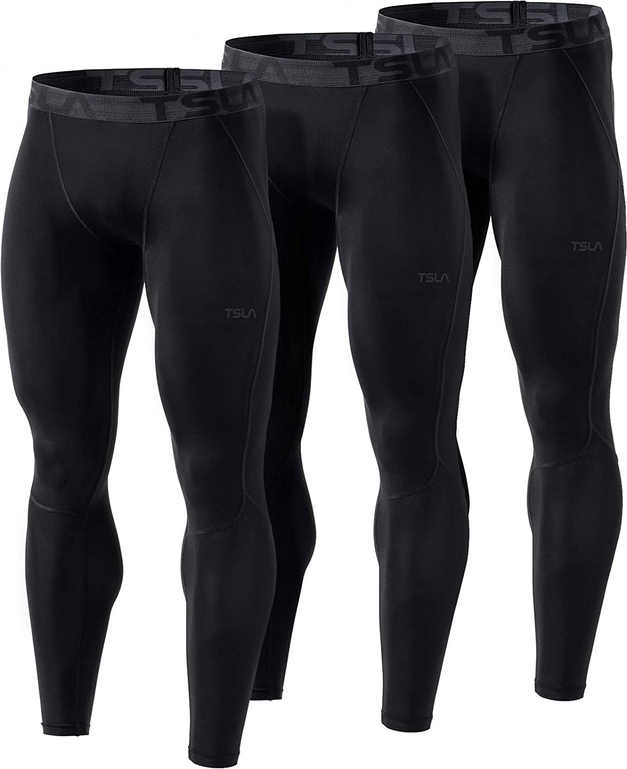 TSLA 1, 2 or 3 Pack Mens Compression Pants Running Tights Workout Leggings, Cool Dry Performance Boosting Baselayer
