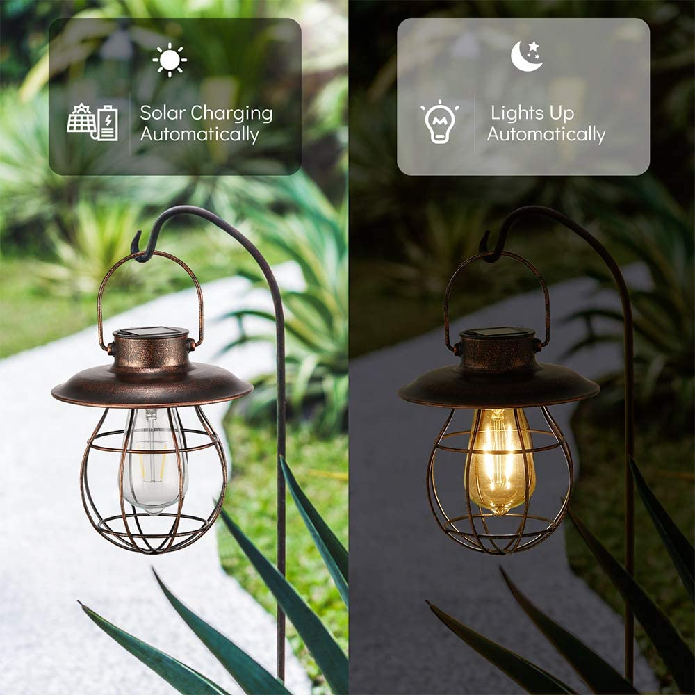 Hanging Solar Light Lantern Outdoor Warm Light Pearlstar Vintage Solar Powered Waterproof Metal Lantern with Edison Bulb Great Decor for Pathway Garden Patio Porch