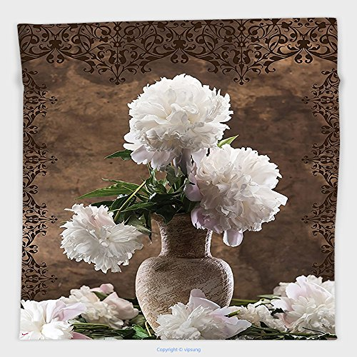 Vipsung Microfiber Ultra Soft Hand Towel-Peonies Peony Flowers Decor Floral Art Prints Green Leaves Brown Beige Ceramic Vase Romantic Decorations For Her White Brown Green For Hotel Spa Beach Pool Bat
