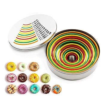 12 Piezas Coloridas Redondas Cookie Cutter Set, Moldes de Círculo de Pastel de Acero Inoxidable para Pastelería Fondant Donuts Queso: Amazon.es: Hogar