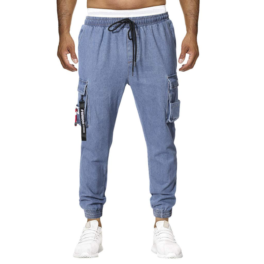 Men's Casual Denim Trousers - Fashion Drawstring Outdoor Hiking Multi-Pocket Plaid Breathable Beam Foot Pants Sweatpants