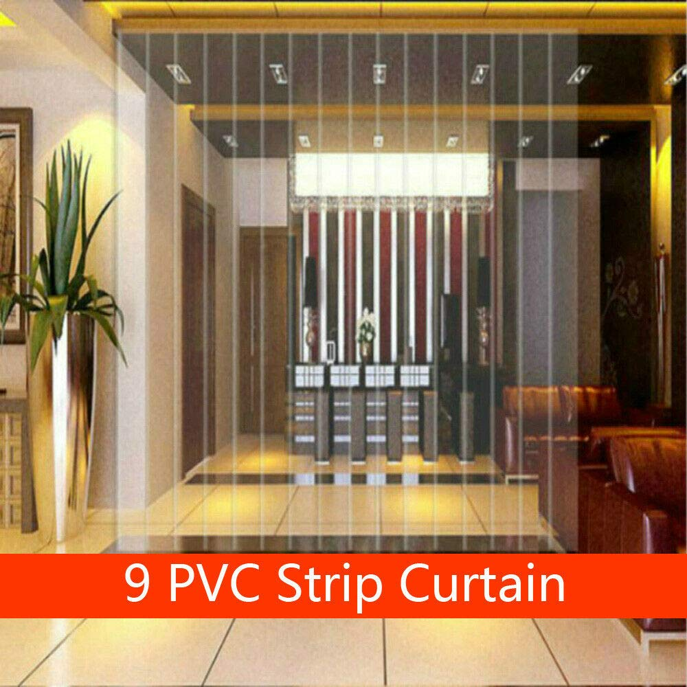 9 Strip PVC Plastic Strip Door Curtain 2m Waterproof Clear Window Curtains for Mall Factories 2m 6.8 Ft 6 in Height X 15cm Width