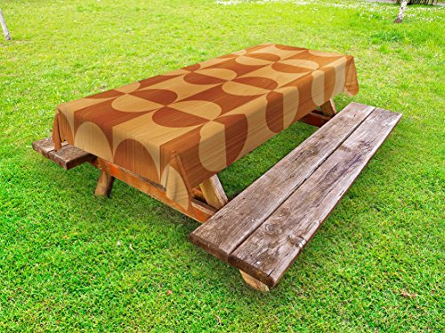 Ambesonne Rustic Outdoor Tablecloth, Abstract Style Oak Plank Pattern with Tiled Bound Lines and Oval Curves Image, Decorative Washable Picnic Table Cloth, 58 X 84 Inches, Orange and Tan
