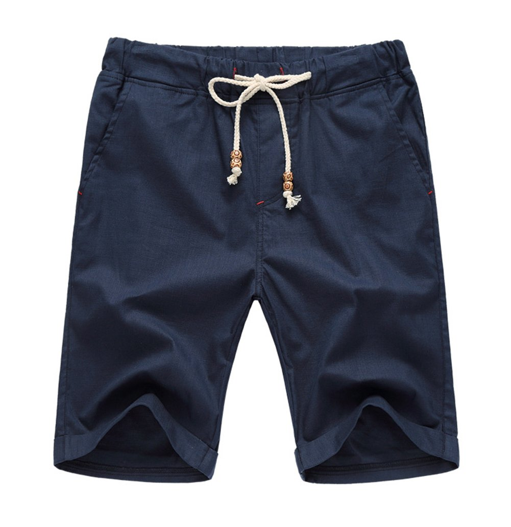 Our Precious Men's Linen and Cotton Casual Classic Fit Short Navy Blue M by Our Precious